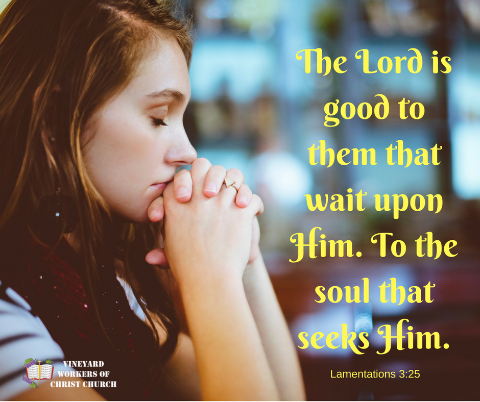 The Lord is good to them that wait upon Him.